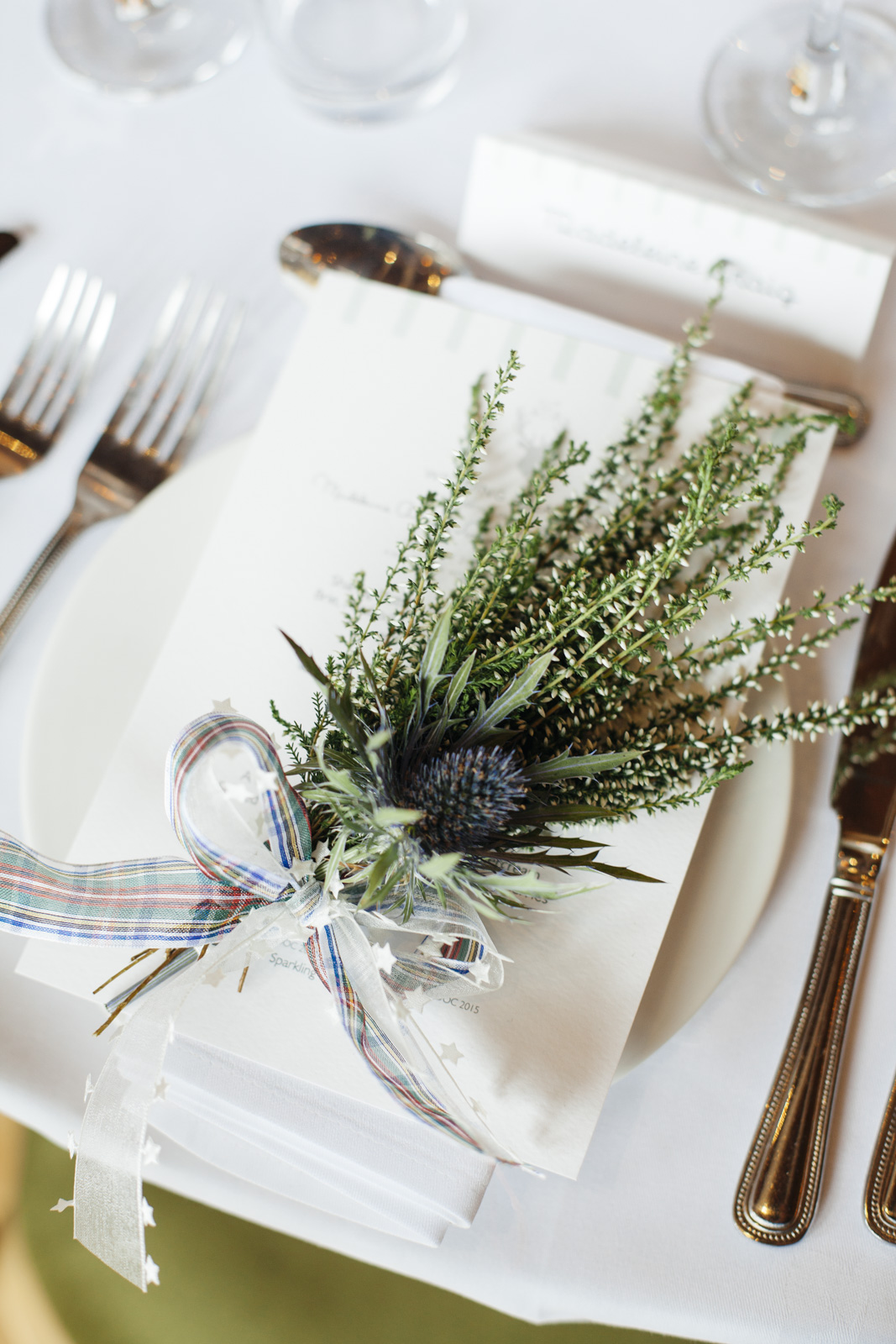 Table Setting at Scottish Wedding at Kirknewton Stables by Ceranna Edinburgh Wedding Photographer