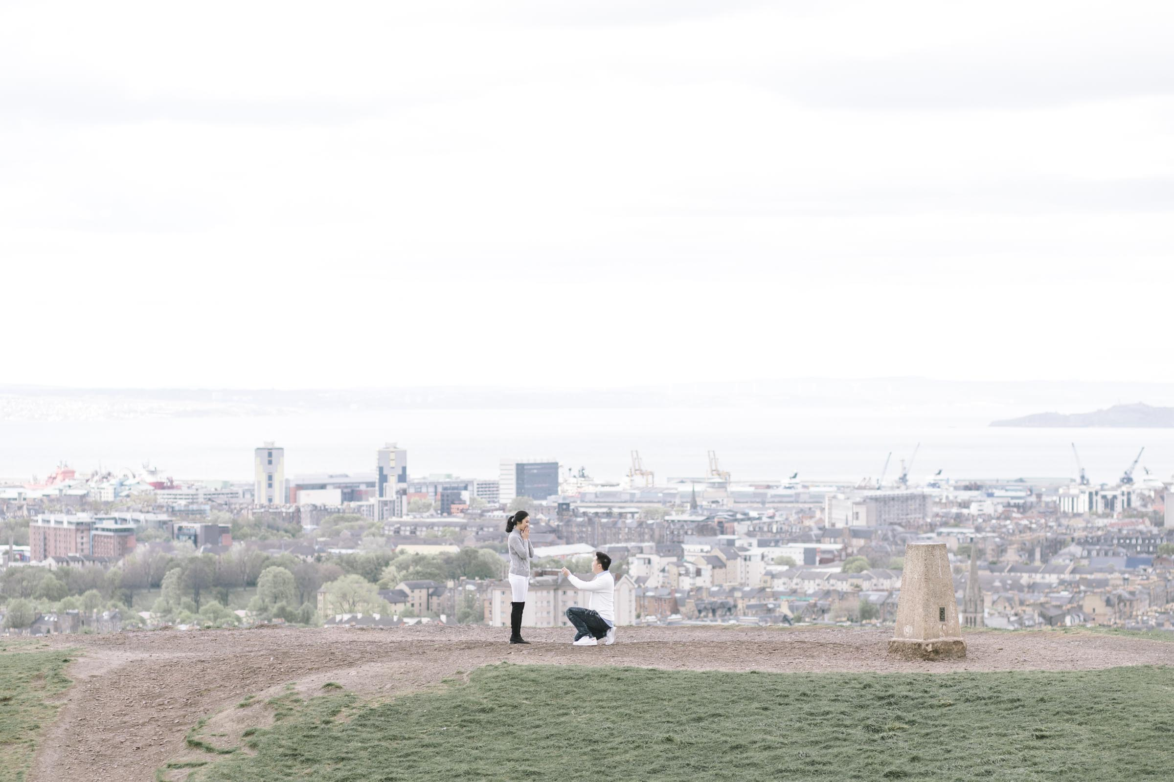 Couple Photoshoot | Suprise Wedding Proposal at Calton Hill | Edinburgh Engagement Photography by Ceranna | Scottish Fine Art Wedding Photographer