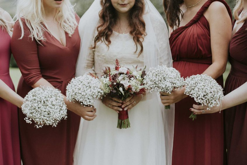 Culcreuch Castle Wedding Photography - Bridesmaids in Burgundy | Culcreuch Castle Wedding | Scottish Wedding Photographer | Ceranna Photography | Alternative Photographs | Scottish Elopement | International Couple | Burgundy Colour Scheme
