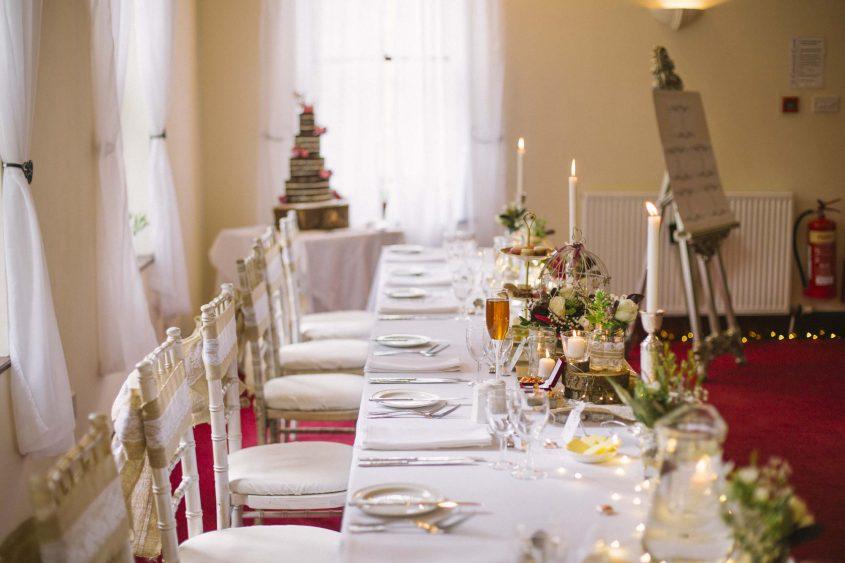 Culcreuch Castle Wedding Reception Photography | Scottish Wedding Photographer | Ceranna Photography | Alternative Photographs | Scottish Elopement | International Couple | Burgundy Colour Scheme