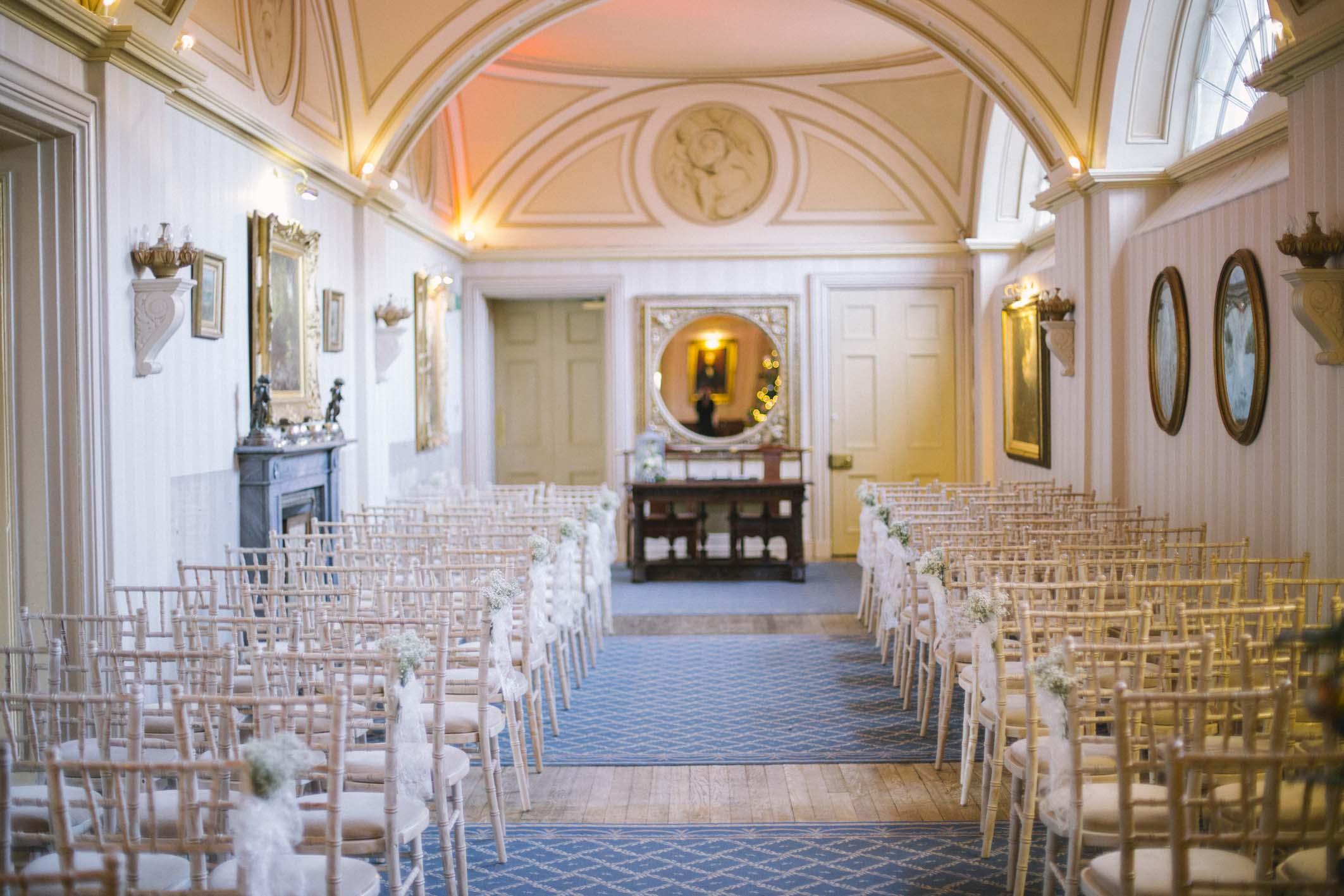 Wedding Ceremony at Long Gallery at Balbirnie House, Fife | Elegant Winter Wedding | Photo by Ceranna Photography