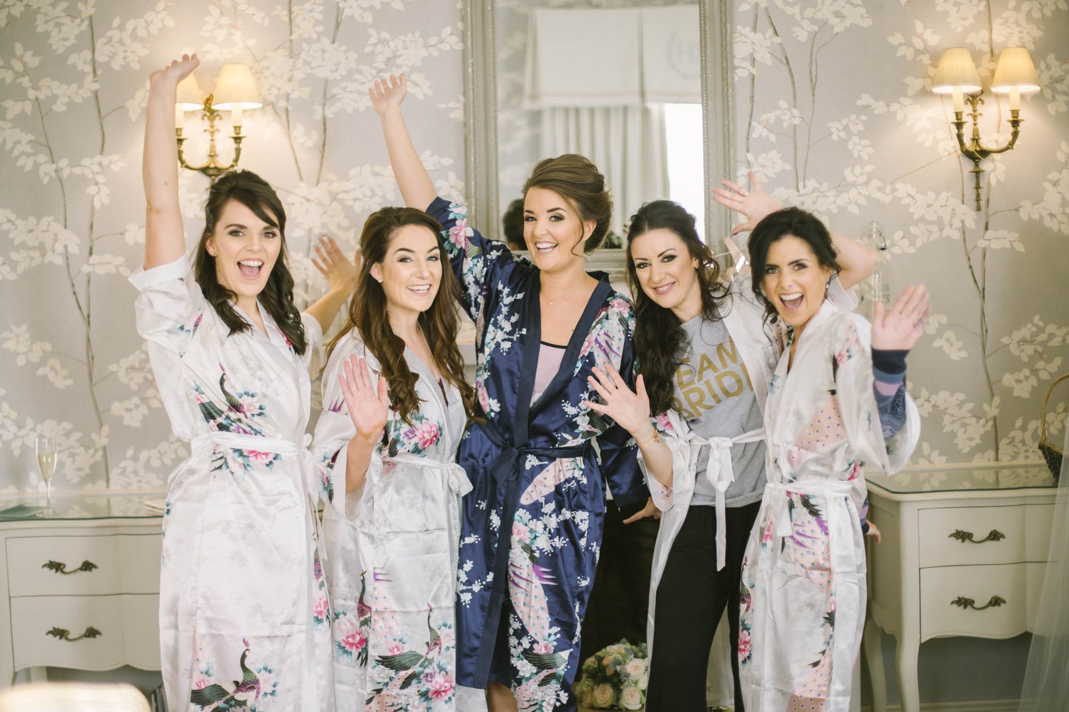 Bridesmaids and bride in matching robes | Balbirnie House Wedding Photography