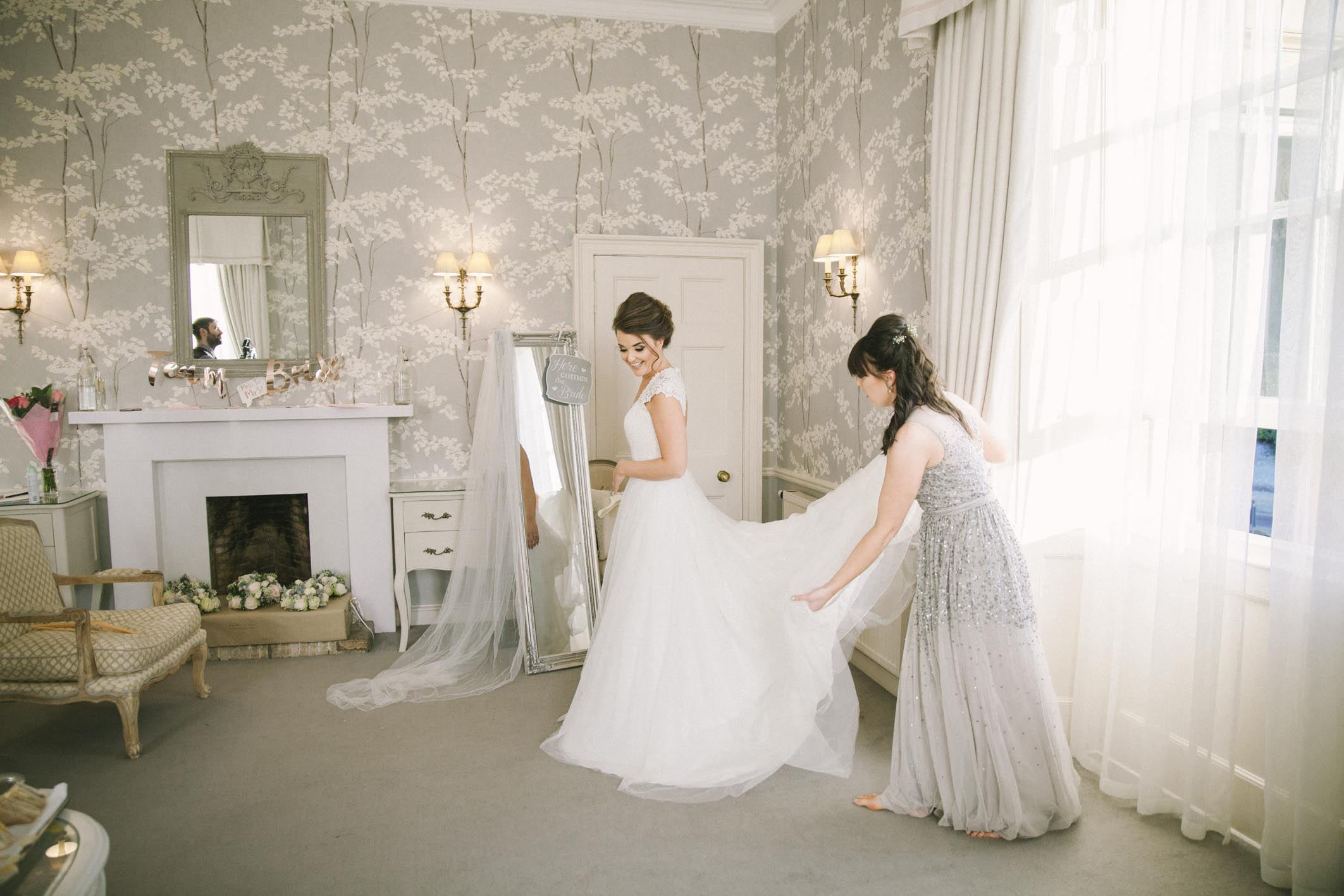 Bride and bridesmaids getting ready at Balbirnie House Wedding Photography by Ceranna, Edinburgh based Wedding and Elopement Photographer