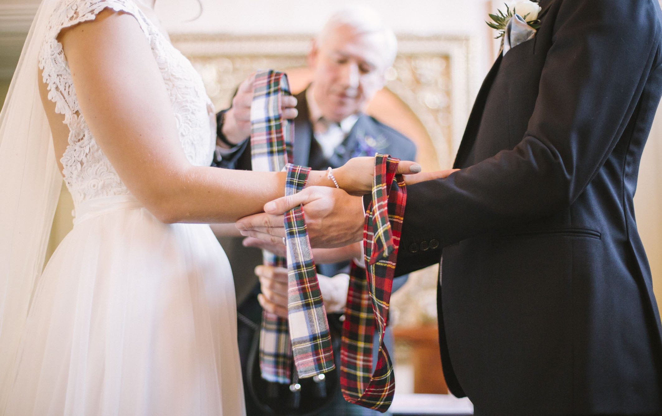 Tie the knot - Scottish Wedding Hand fasting at Elegant Winter Wedding at Balbirnie House | Photography by Ceranna Photo