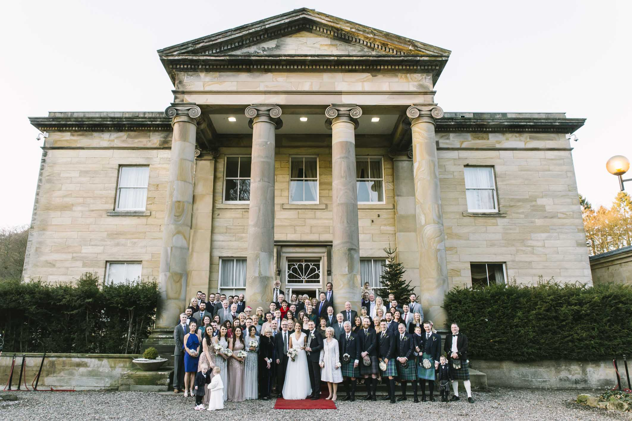 Winter Balbirnie House Wedding Photography | Group Photo by Ceranna Photography | Edinburgh Fine Art Wedding Photographer