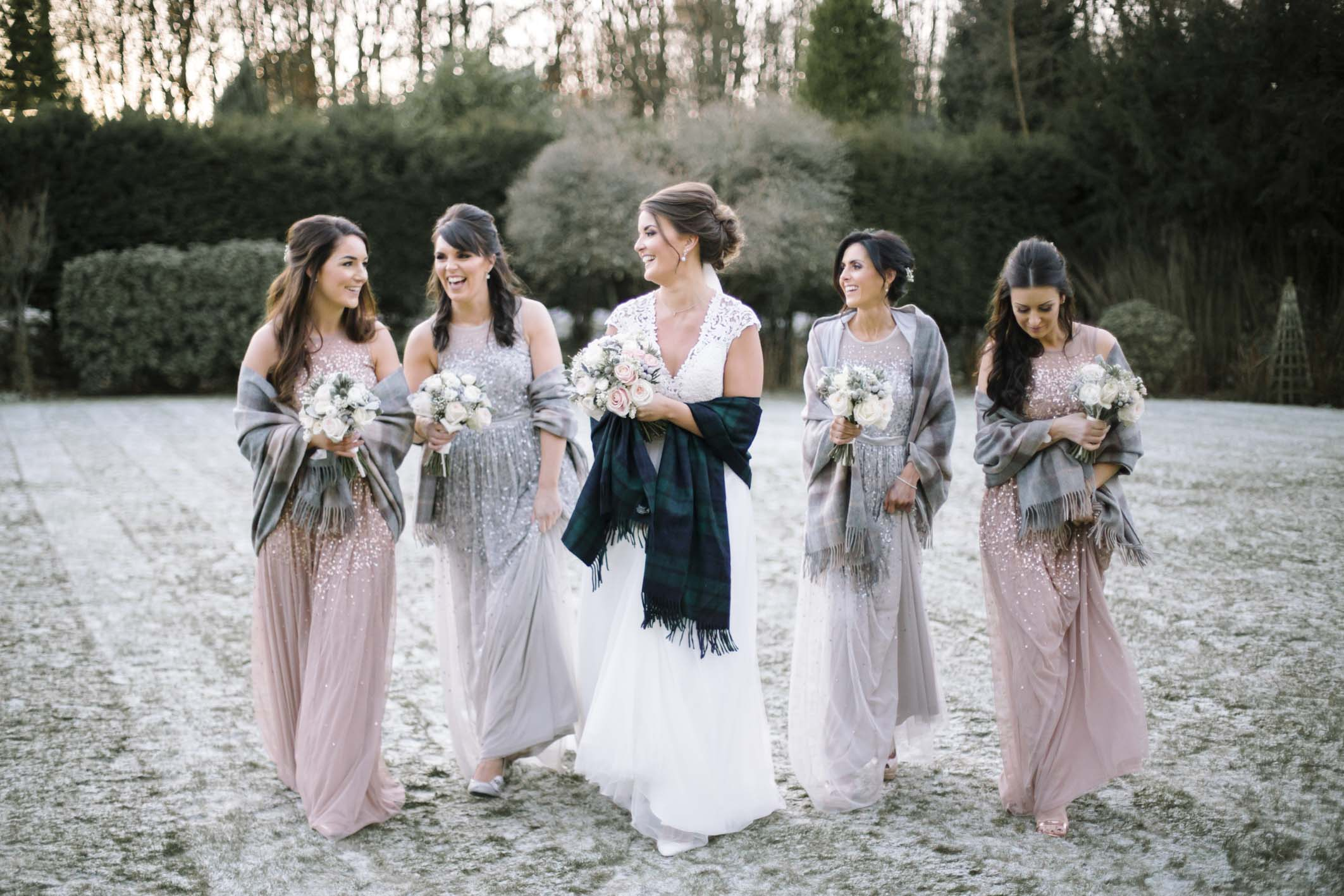 Winter Wedding at Balbirnie House | Bridal Party portraits in the snow by Edinburgh Wedding Photographer Ceranna Photography