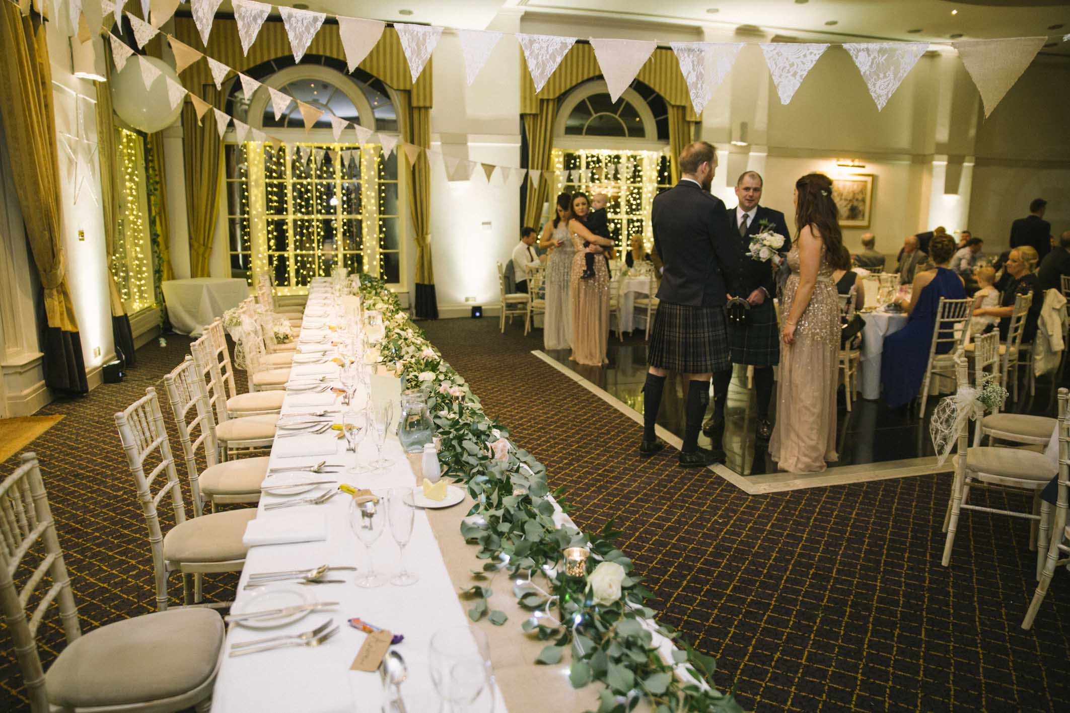 Reception at the Great Ballroom, Balbirnie House | Photo by Ceranna Photography