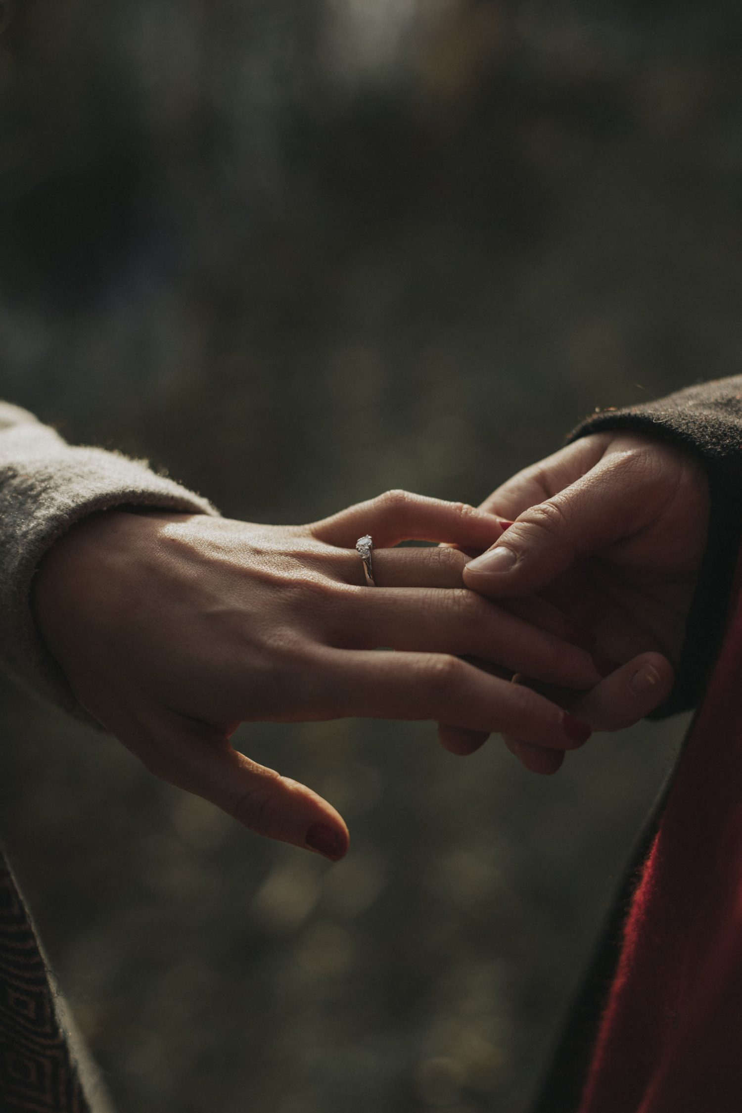 Edinburgh Surprise Proposal and Engagement Photoshoot Photography by Ceranna, Holyrood Park, detail of the engagement ring | Secret proposal in Edinburgh