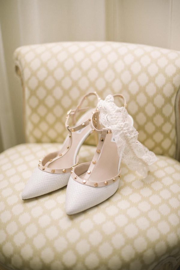 Balbirnie House Wedding captured by Edinburgh Wedding Photographer Ceranna Photography | Wedding Shoes and Garter Detail Photo