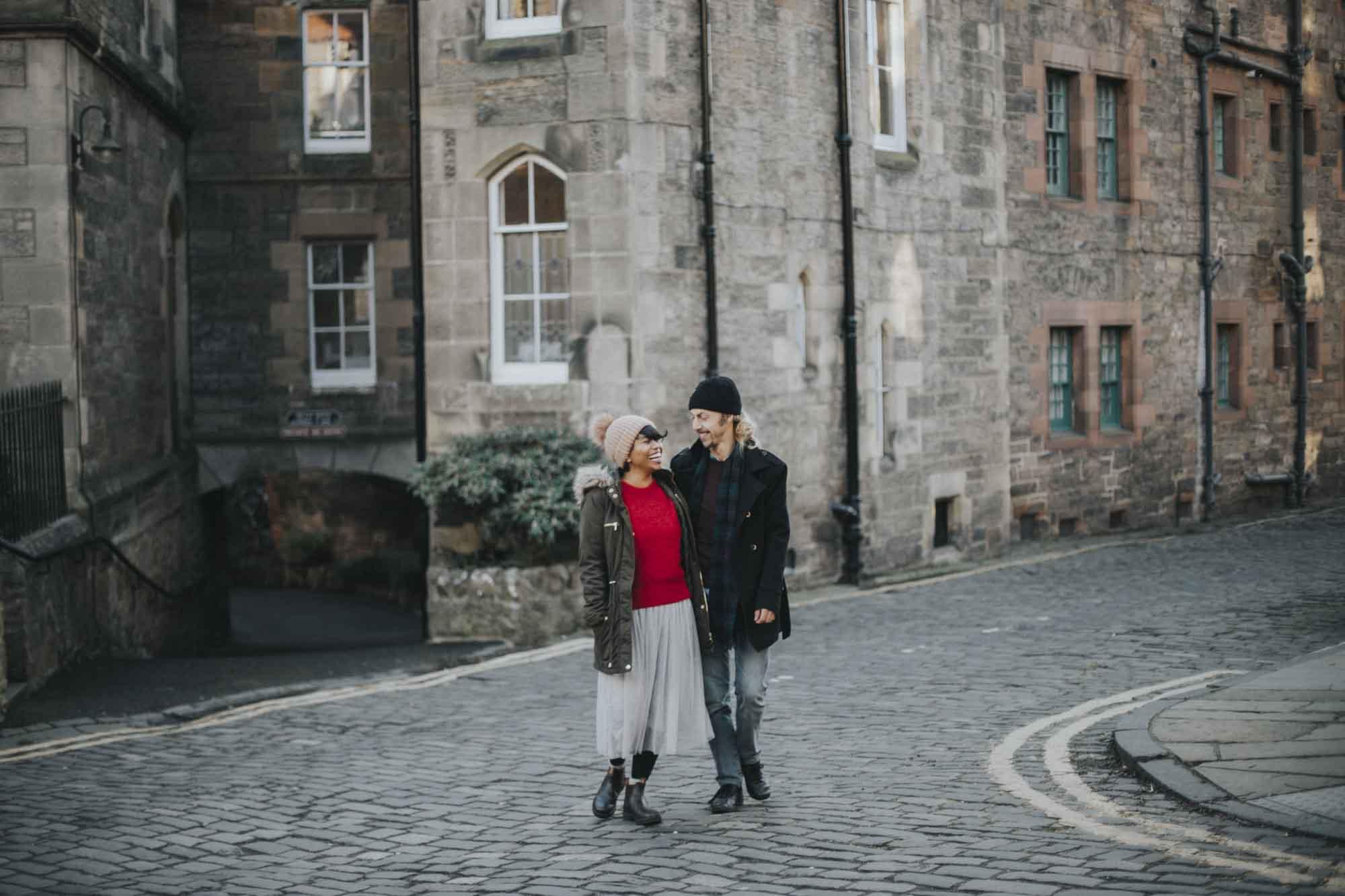 Edinburgh Couple Photoshoot | Scottish Engagement Photographer | Pre Wedding Photos | Deans Village Tourist Sights