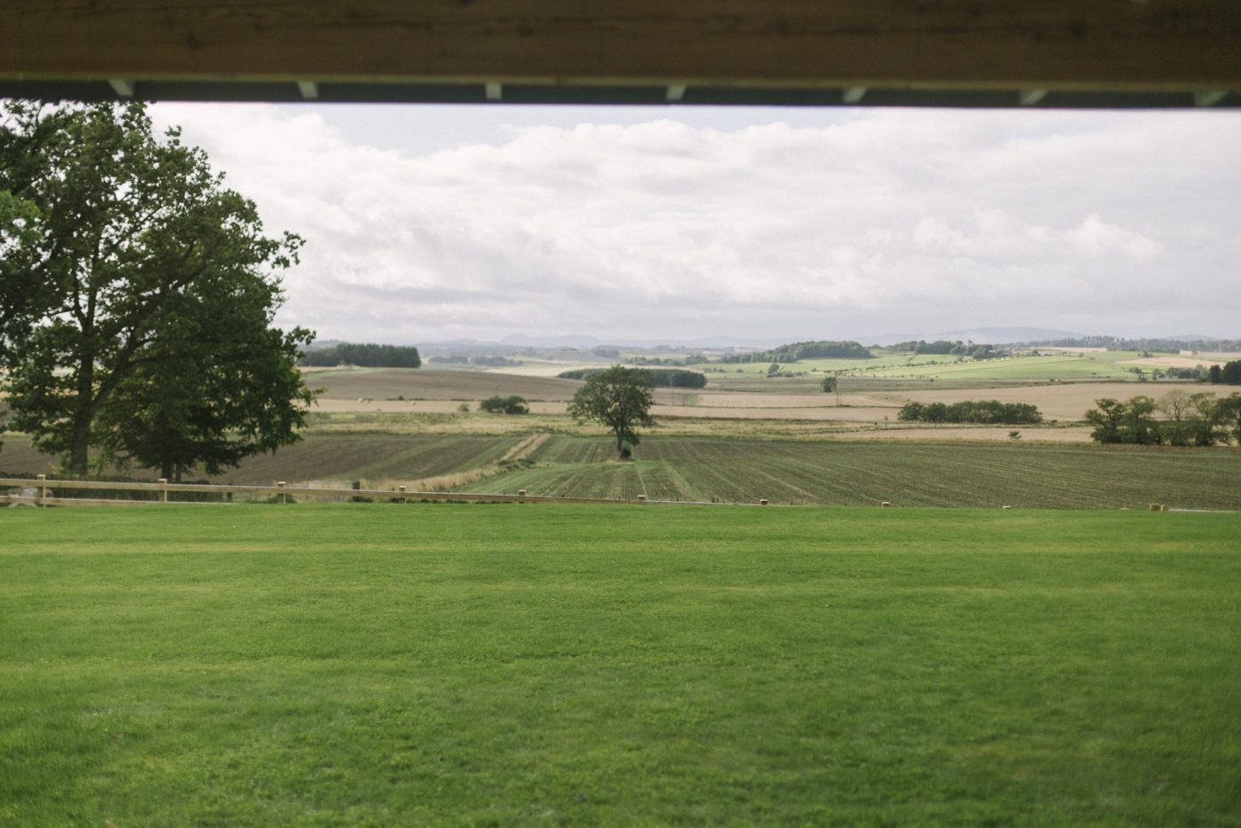 View of countryside at Barn at Barra Castle Wedding Venue | Aberdeenshire wedding venues | Rustic Scottish Barn