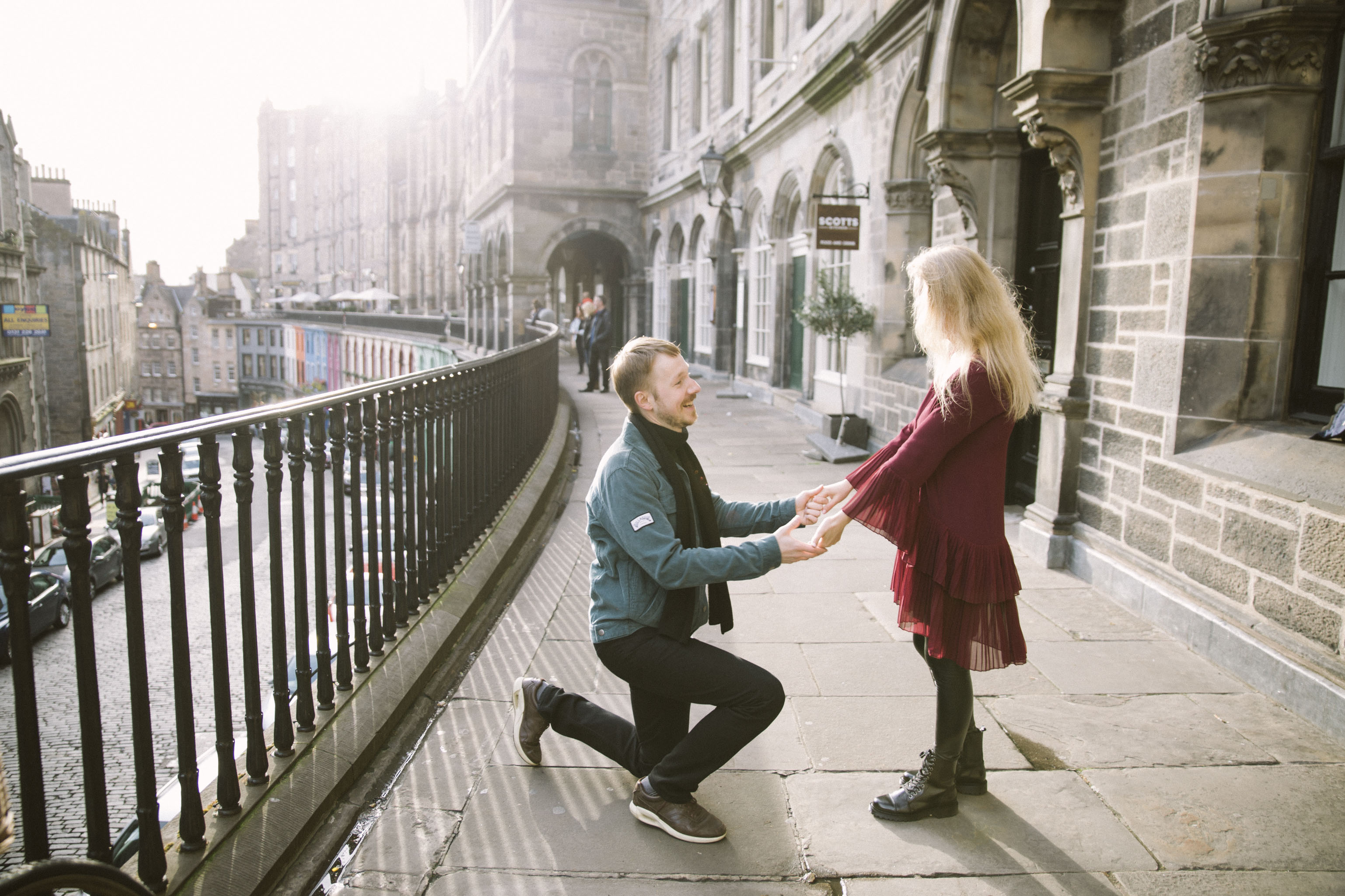 Edinburgh Proposal, Victoria Street, Wedding Photography, Romantic Edinburgh Street Old Town Couple Photoshoot | Pre Wedding Photography | Engagement Portraits Scotland | Destination Elopement | Elope in Edinburgh | Couple | Ceranna Photography | Natural Light Photographer