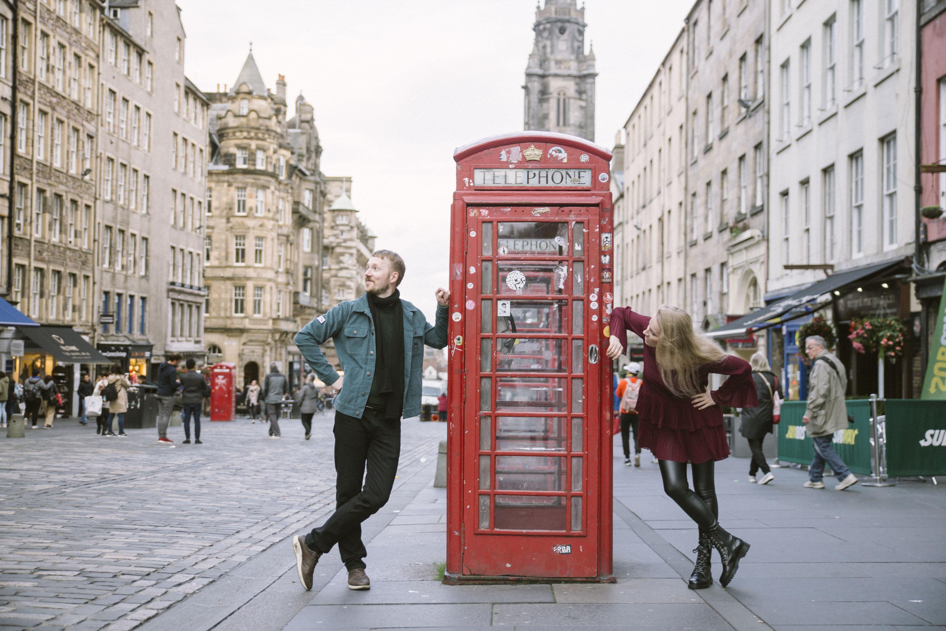 Lovers in Edinburgh, Scottish Proposal, Royal Mile, Red Phone Box, Wedding Photography, Romantic Edinburgh Street Old Town Couple Photoshoot | Pre Wedding Photography | Engagement Portraits Scotland | Destination Elopement | Elope in Edinburgh | Couple | Ceranna Photography | Romantic Natural Light Photographer