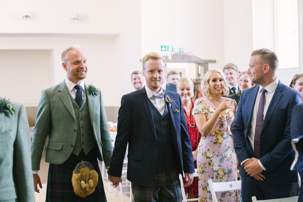 Scottish same sex wedding at Elie Village Hall, Fife Wedding Photographer
