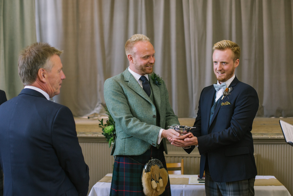 Elie Village Hall Wedding Photography | Scottish beach wedding | Scottish same sex wedding Photography | Fife Wedding Photographer | Cow Shed Crail Reception | Quaich ceremony
