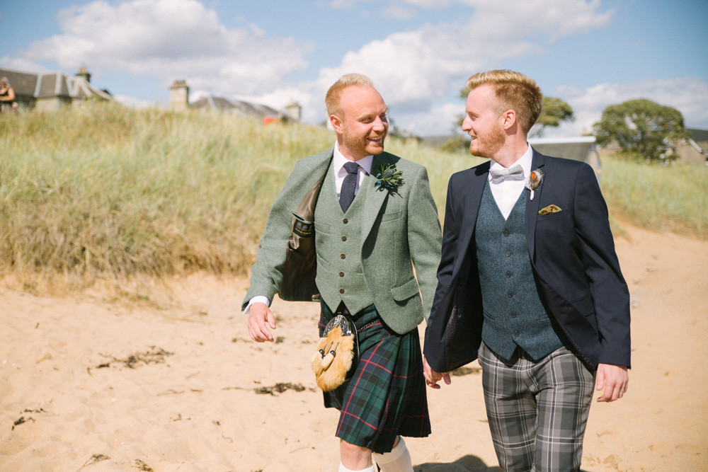 Two grooms | Scottish same sex wedding photography | St andrews and Fife Wedding Photographer | Cow Shed Crail Wedding
