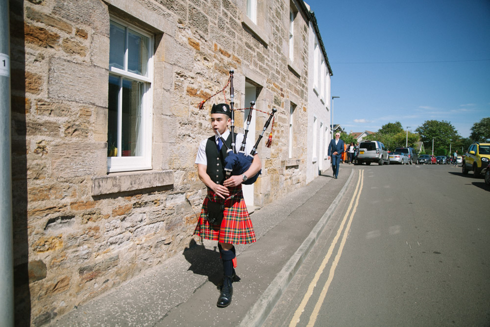 Elie Village Hall wedding piper | Fife Wedding Photographer