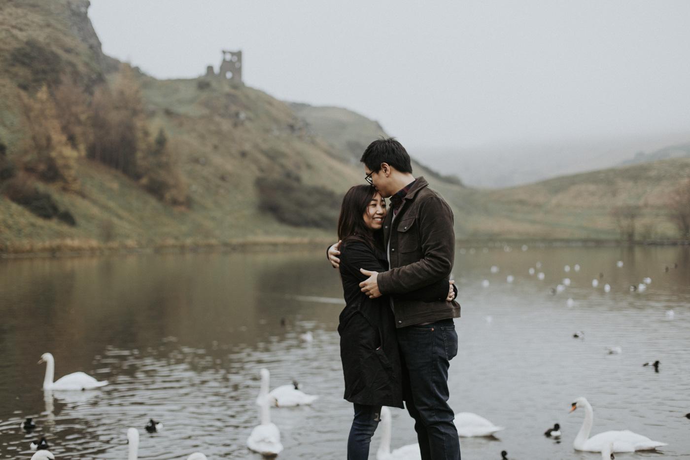 Edinburgh Holyrood Park Alternative couple photoshoot