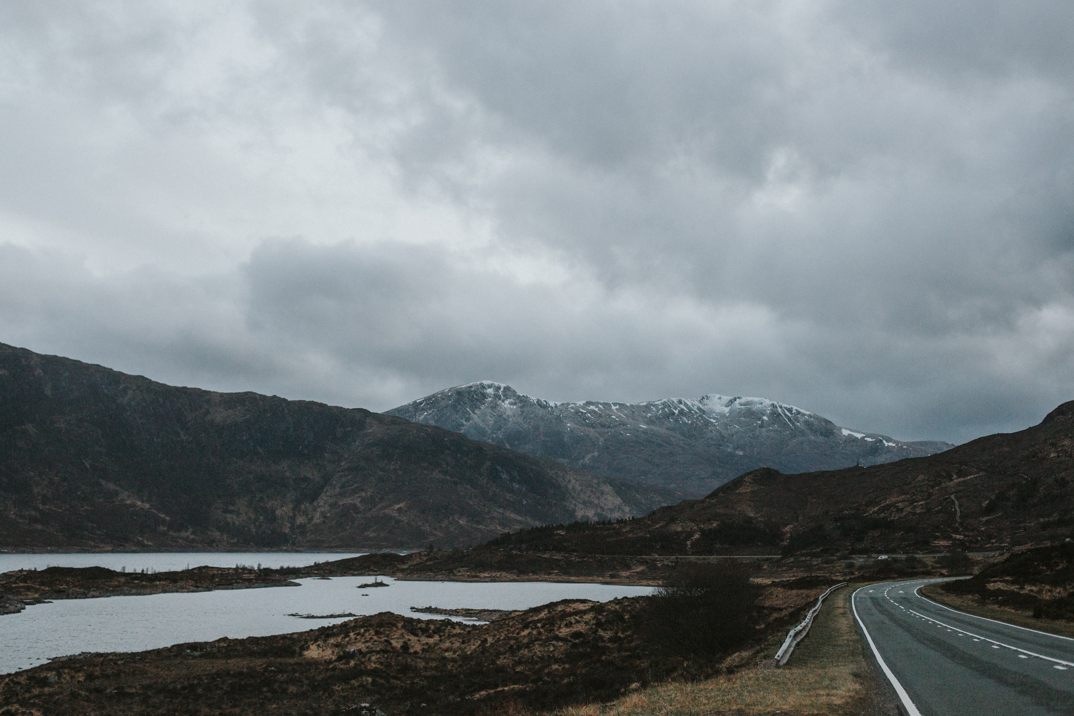 On the road in Scottish Highlands - Glen Shiel