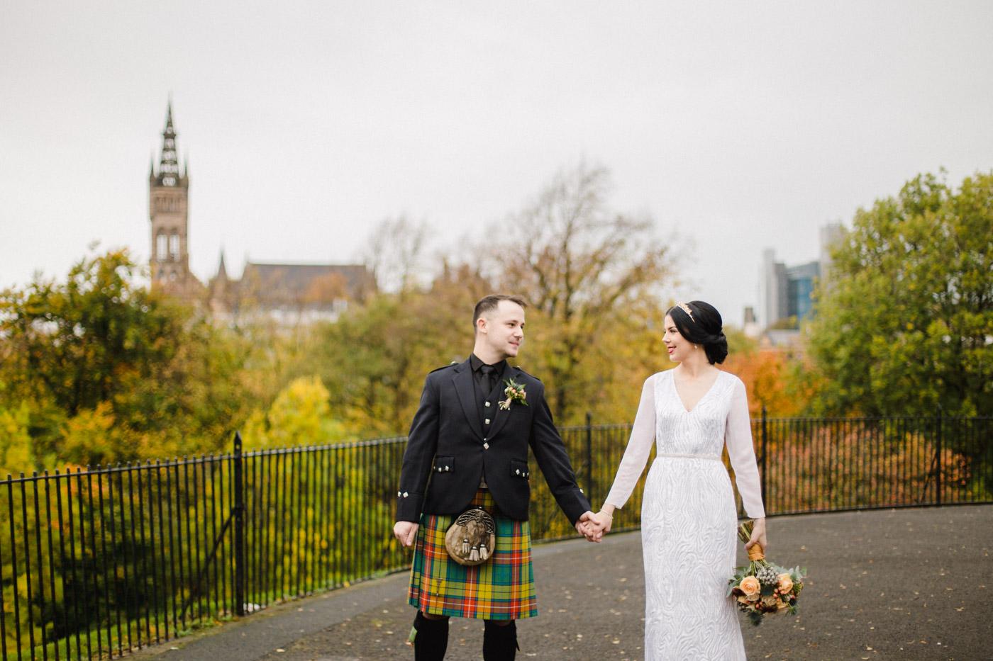 Alternative Glasgow Wedding Photography | Kelvingrove Park wedding photographer
