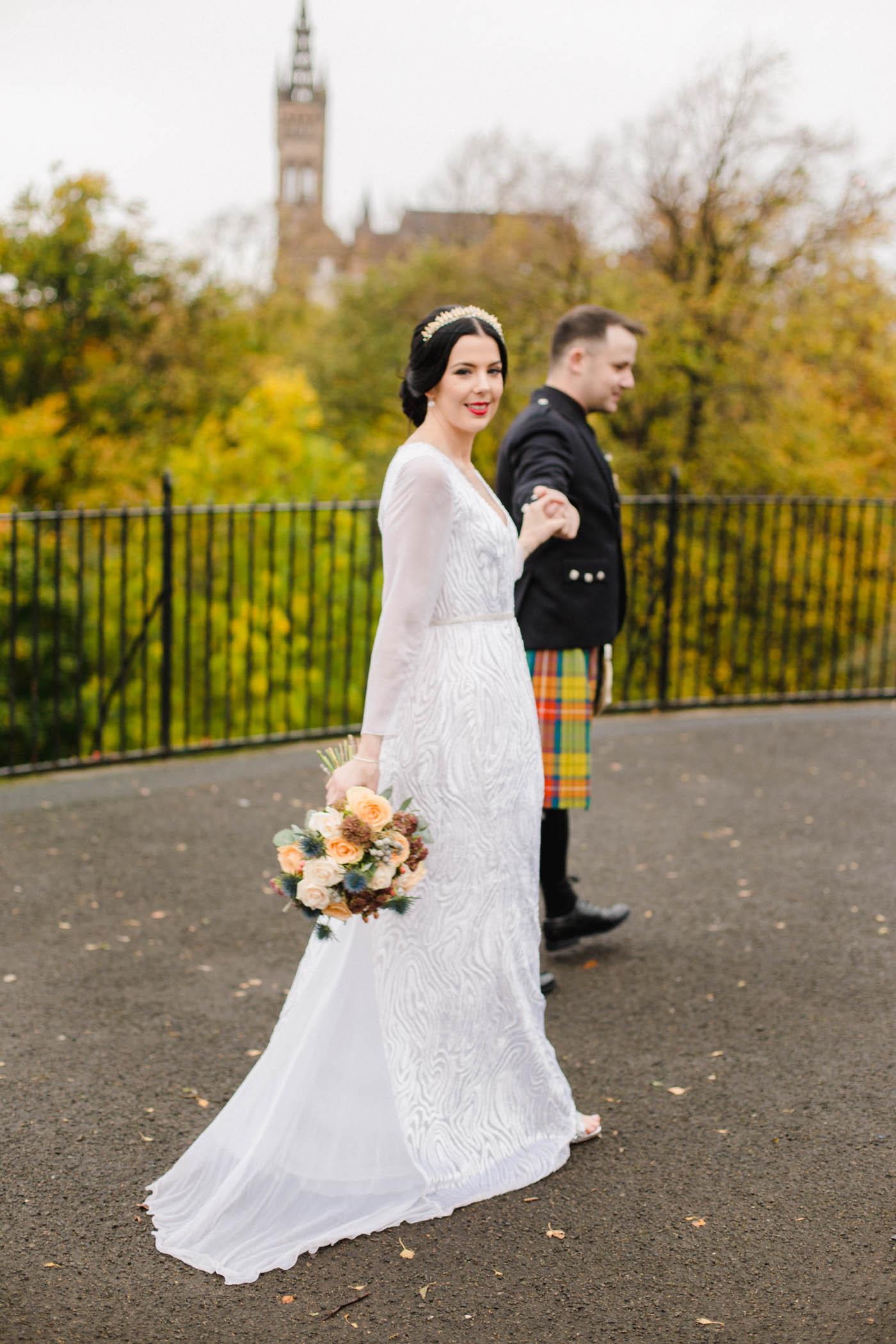 Kelvingrove Park wedding photography | Vintage Scottish wedding in yellow and thistle