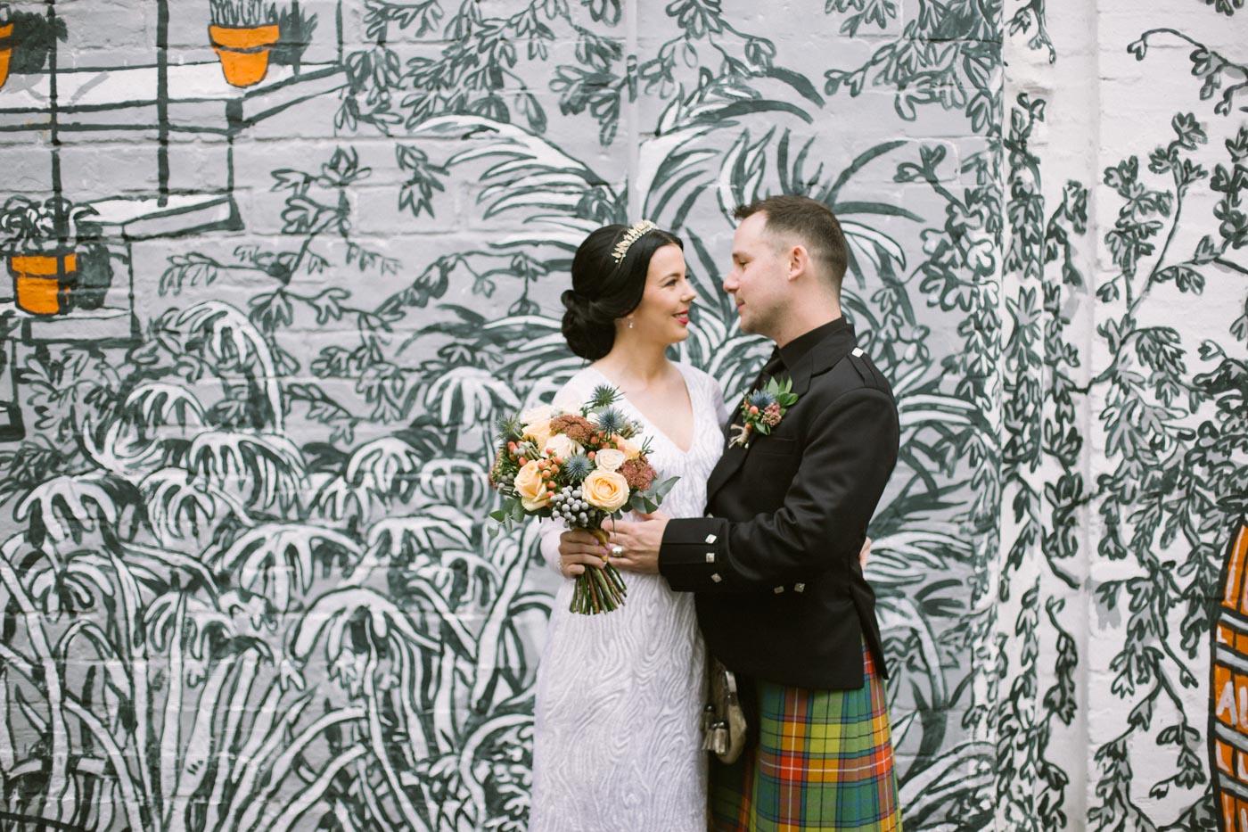 Glasgow Alternative Wedding Photography by Ceranna Photography | Grafitti wall wedding photos inspiration