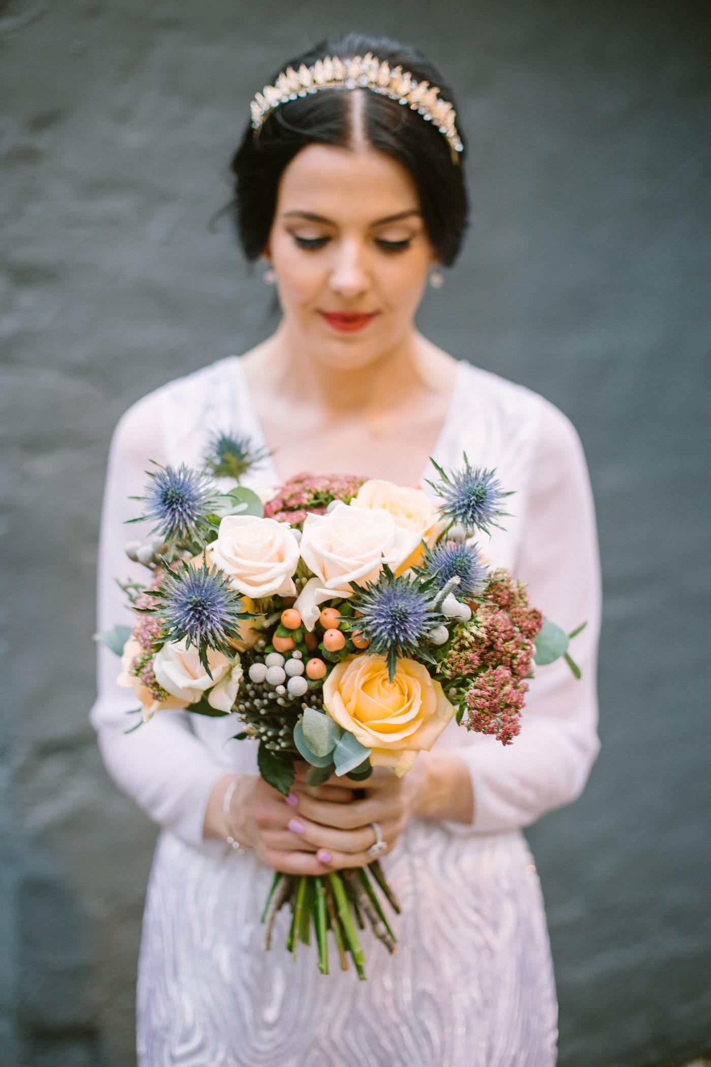 Thistle wedding bouquet inspiration | Scottish wedding Photography