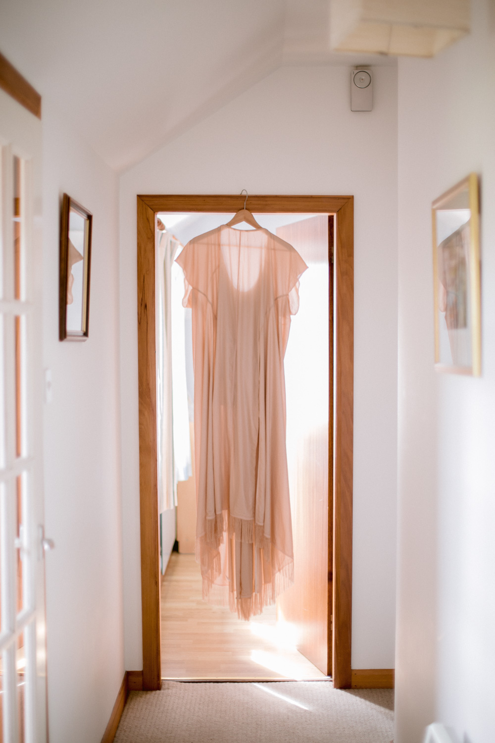 Bohemian Blush Pink Wedding Dress Hanging