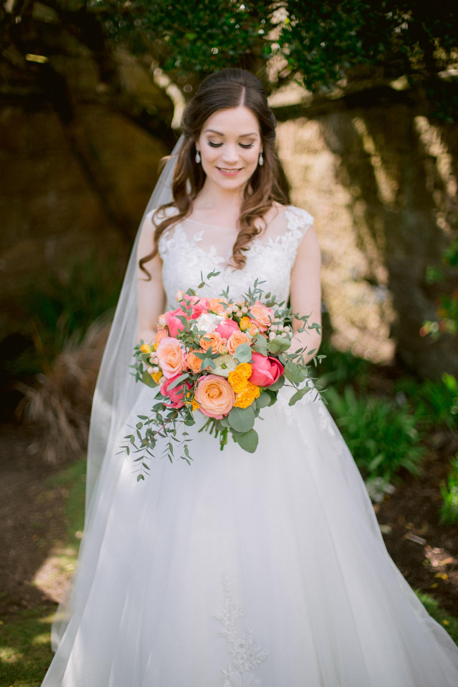 Bride with Orange rose wedding bouquet | Culzean Castle Ayrshire Bride Photography