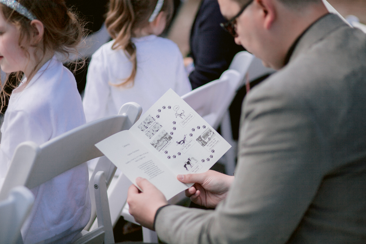 Dog themed wedding programme