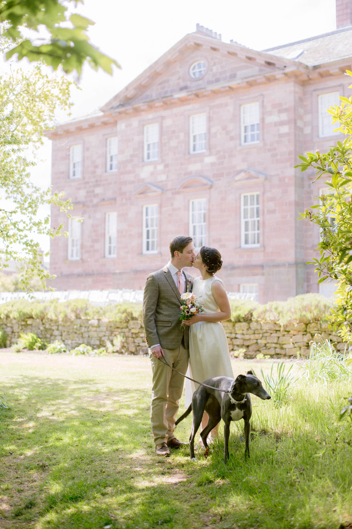 Paxton House Wedding Photography Portraits in the Gardens with greyhound dog by Ceranna Photography | Scottish Borders Wedding