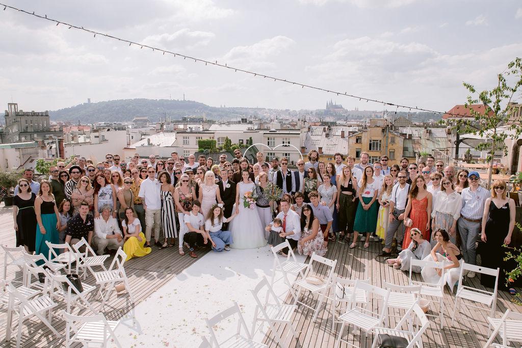 Neformální skupinovka na střeše Lucerny