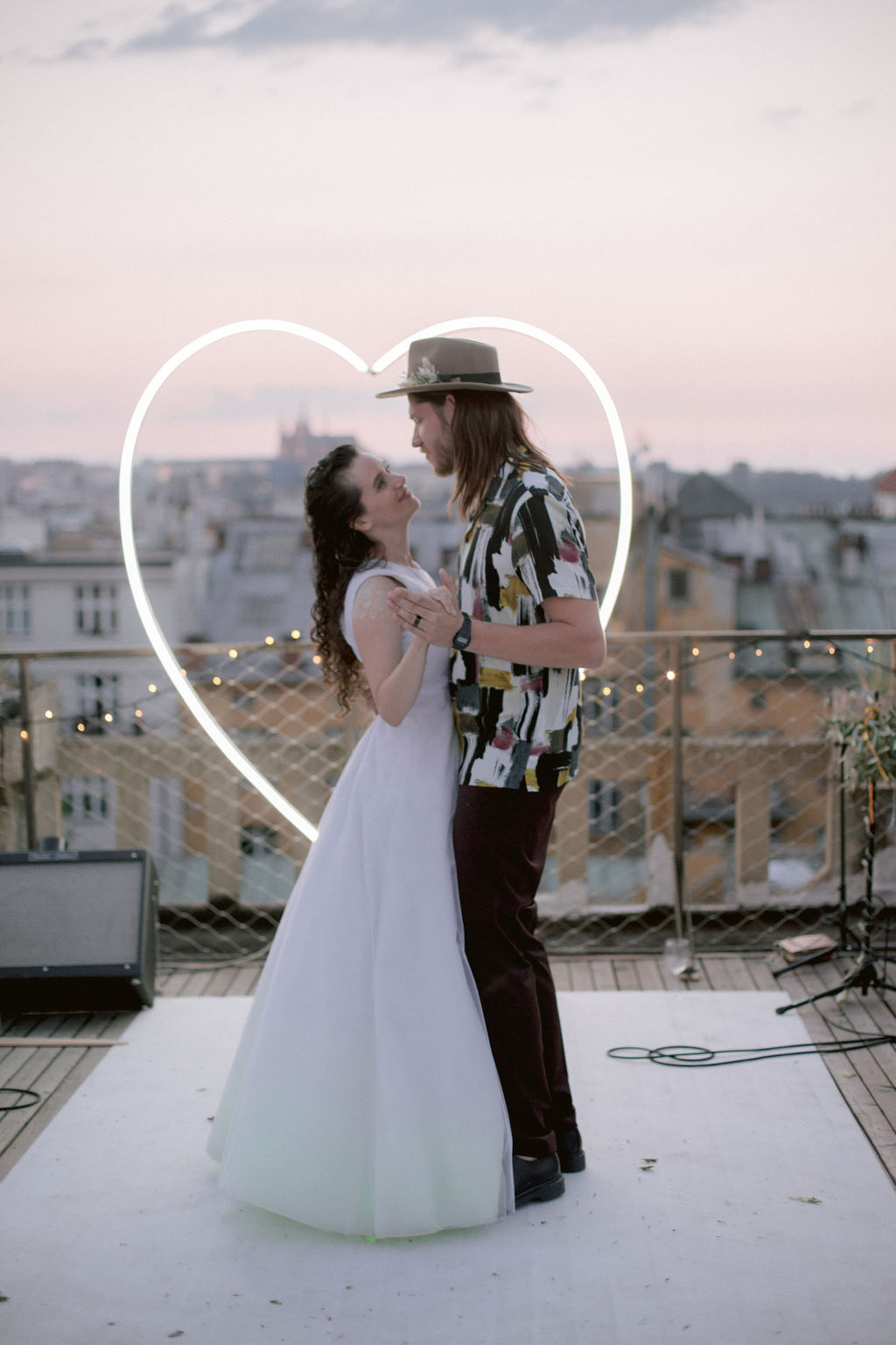 Neon Hear Wedding Arch | Prague Hipster Rooftop Wedding