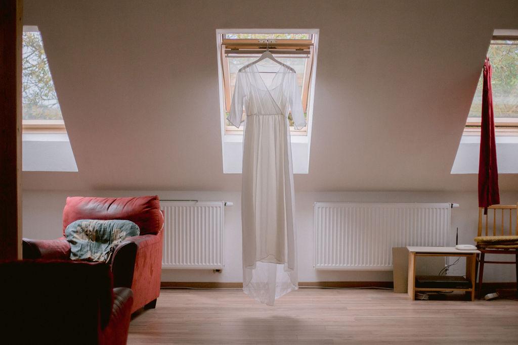Silk wedding dress by Simona Poustkova
