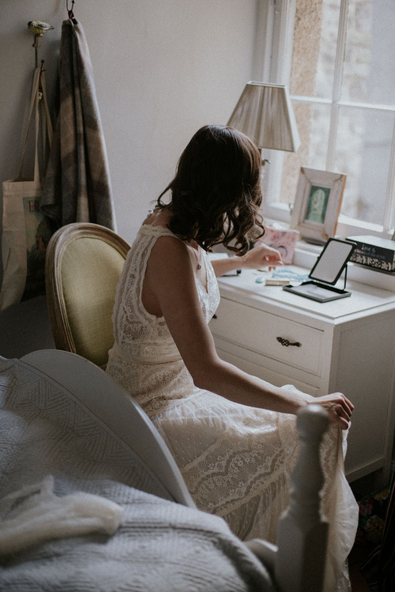 Bride Getting Ready at Edinburgh Elopement | Intimate Destination Wedding
