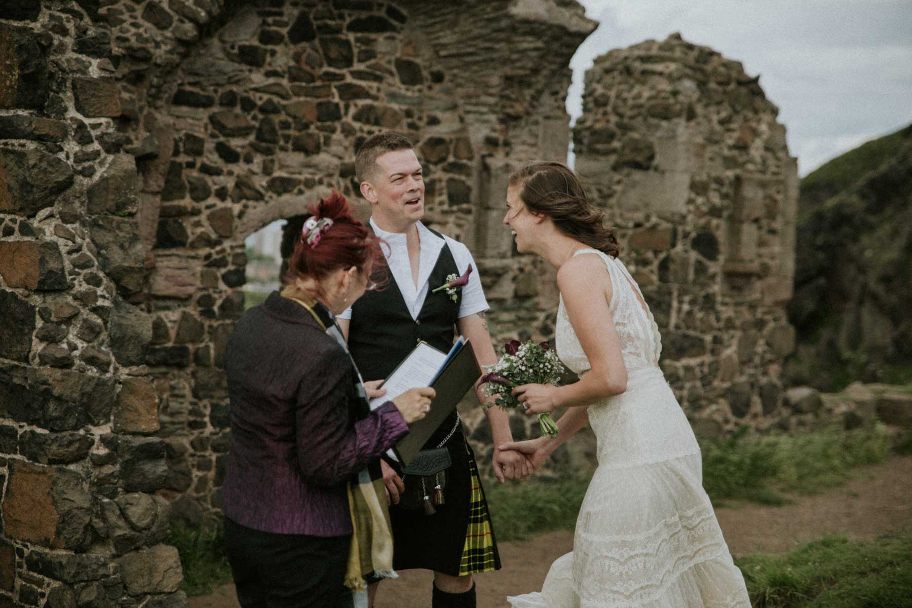 Wedding vows at st anthony chapel Edinburgh