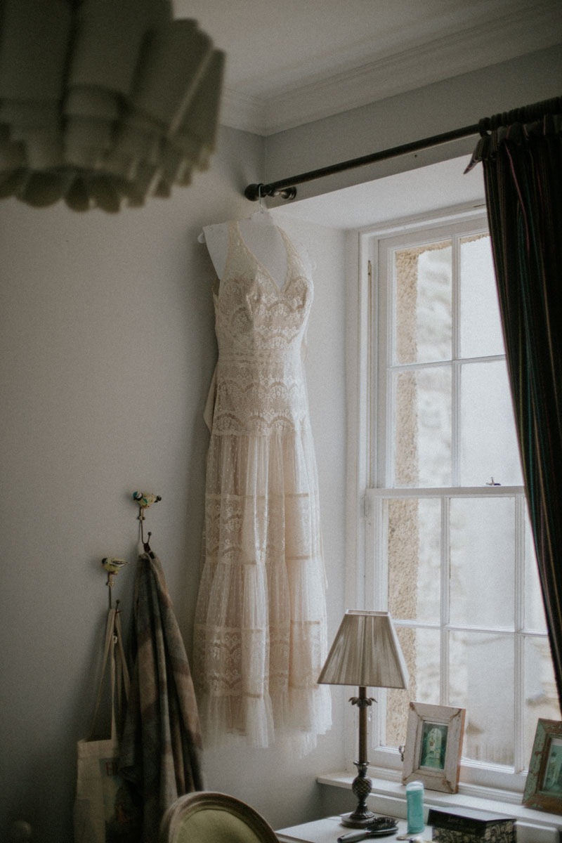 Simple Lace Wedding Dress Edinburgh Elopement | Intimate Destination Wedding