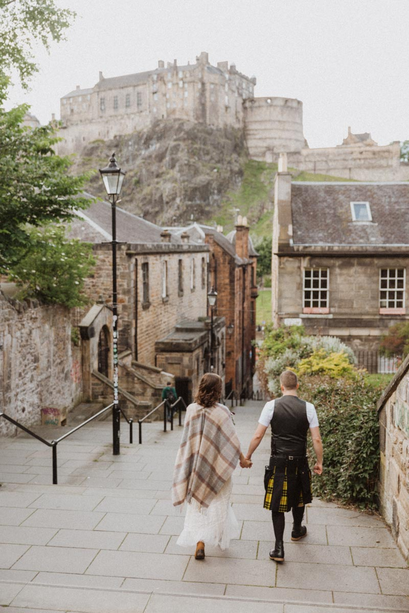 Edinburgh Elopement | Intimate Destination Wedding | Edinburgh Castle Bridal Portraits