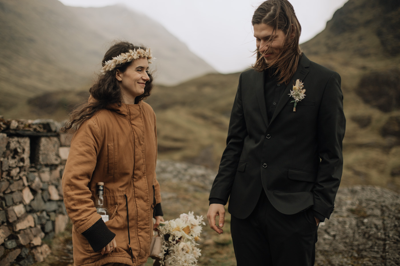 Candid adventurous elopement in Glencoe valley