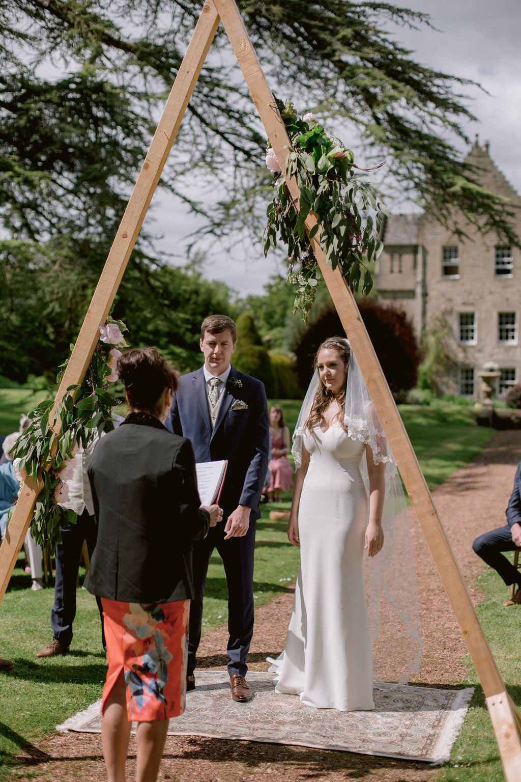 Triangular wedding arch | Kirknewton House Wedding
