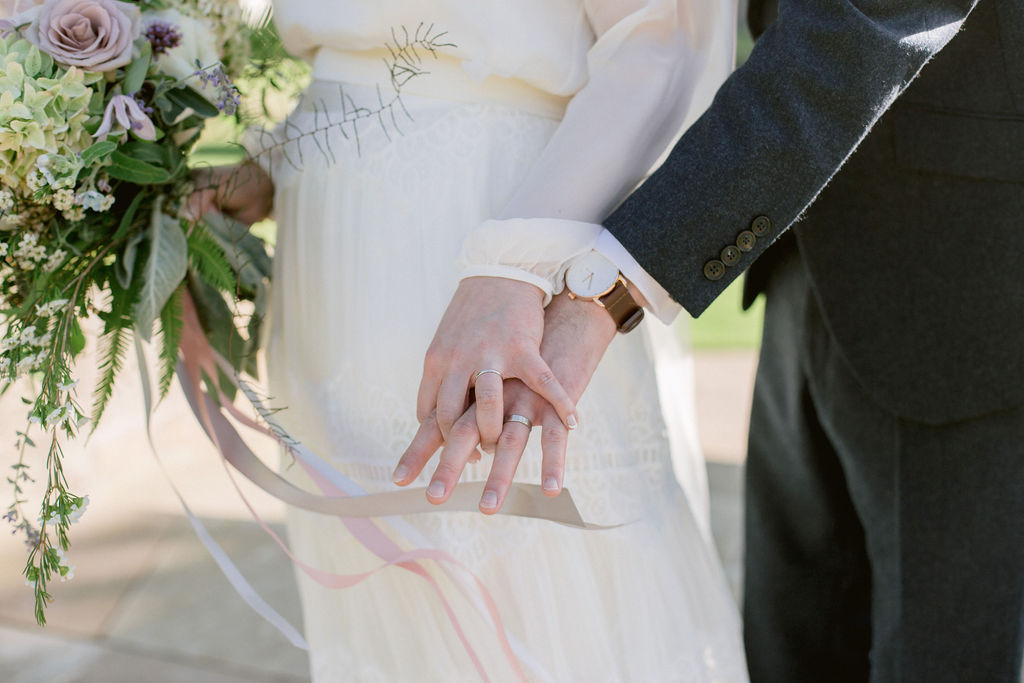 Silk ribbons Narcissus Florist wedding bouquet at Gilmerton house by Ceranna Photography