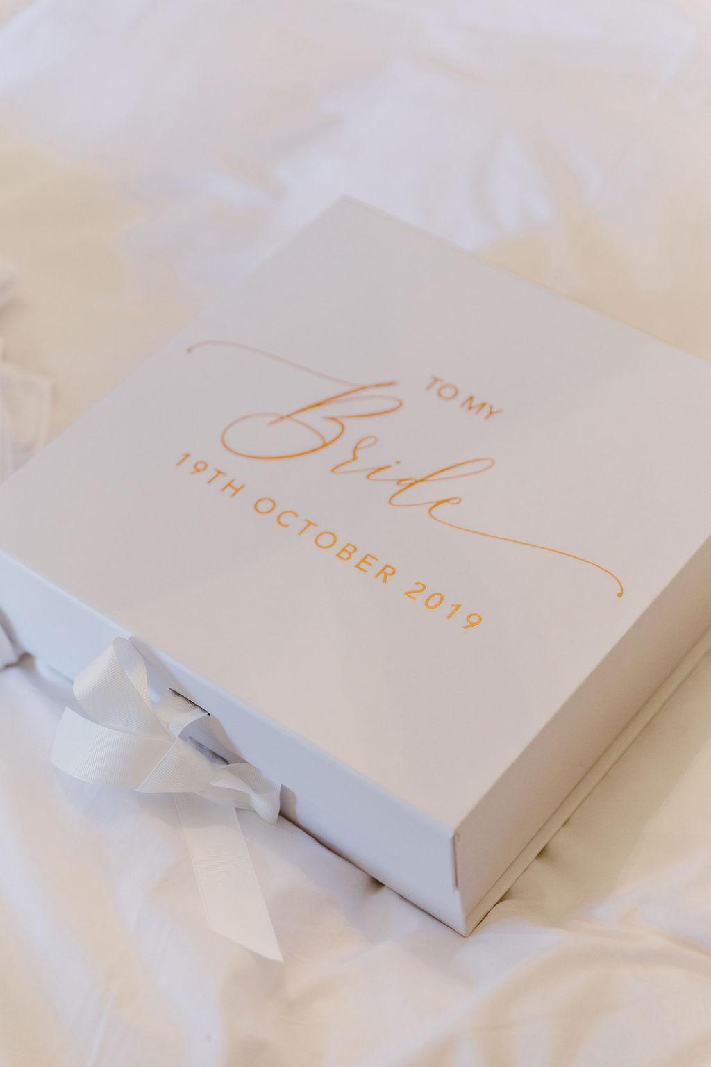 To my Bride Wedding gift box by Groom | Aberdeenshire Wedding Inspiration