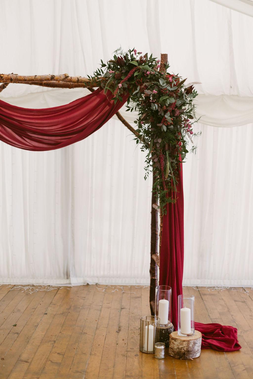 Burgundy drape weding arch | Wedding Photographer Scotland