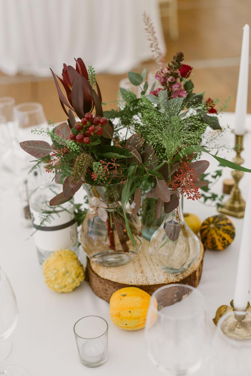 Wedding Table Centre Piece with pumpkins | Autumnal wedding decor | Scottish Wedding | Burgundy florals | Photography with wooden blocks
