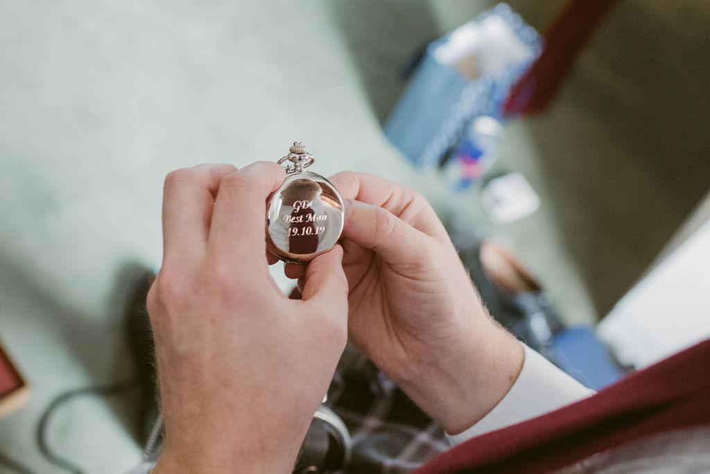 Pocket Watch wedding gift for Groomsmen | Aberdeen Elsick House Photography
