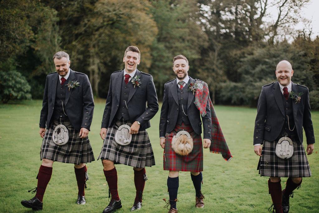 Groomsmen in burgundy | Elsick House Wedding