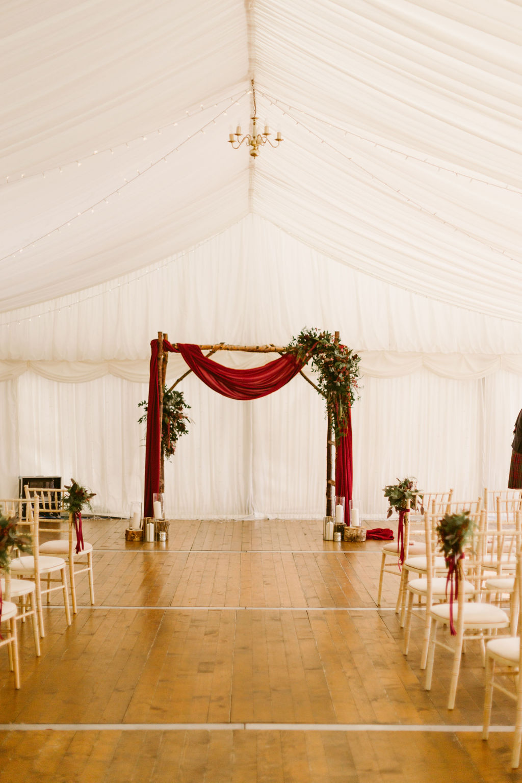 Burgundy drape weding arch | Wedding Photographer Scotland
