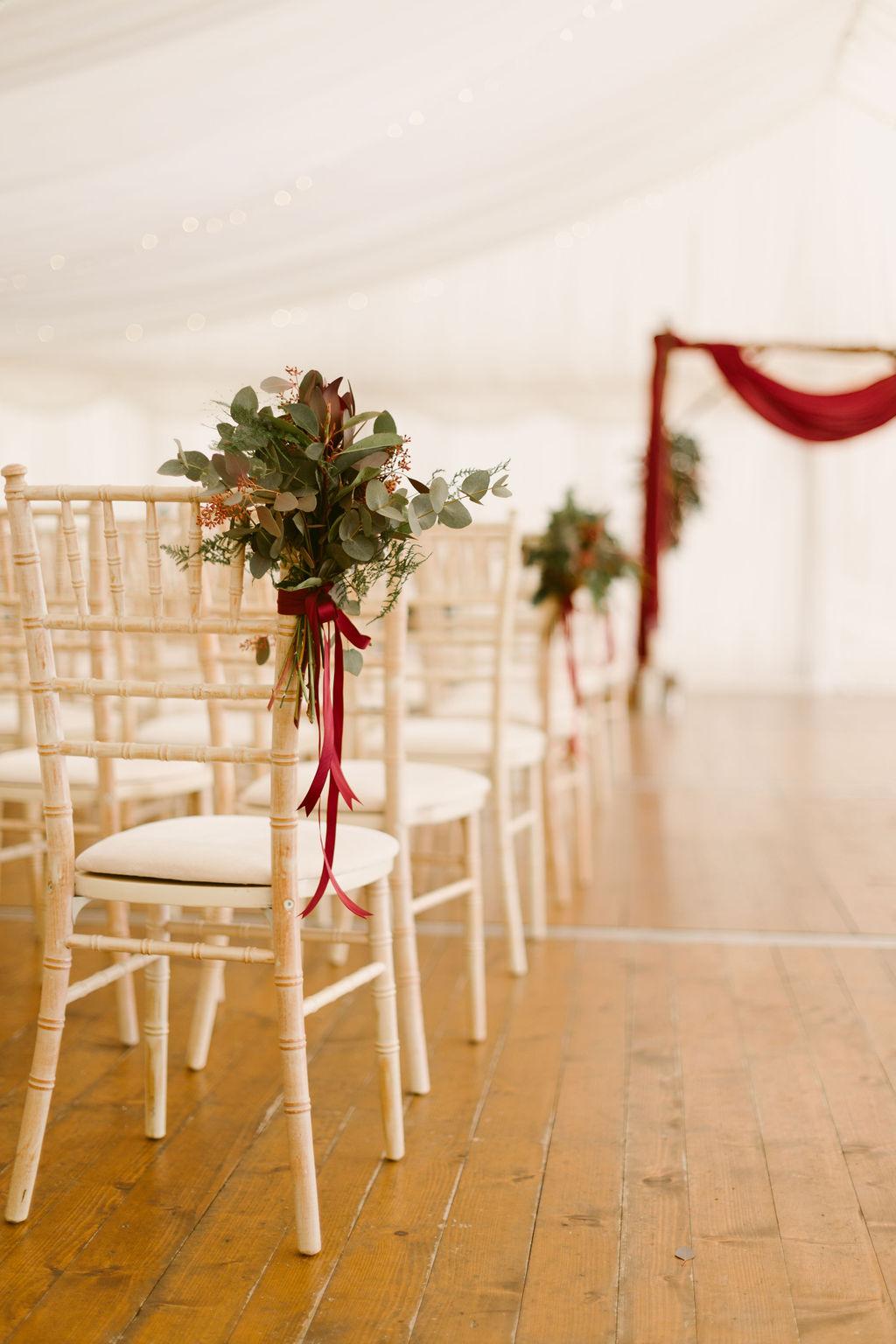 Elsick House Wedding | Burgundy Floral Wedding Decoration - Wedding Photographer Scotland | Scottish Wedding Photographer