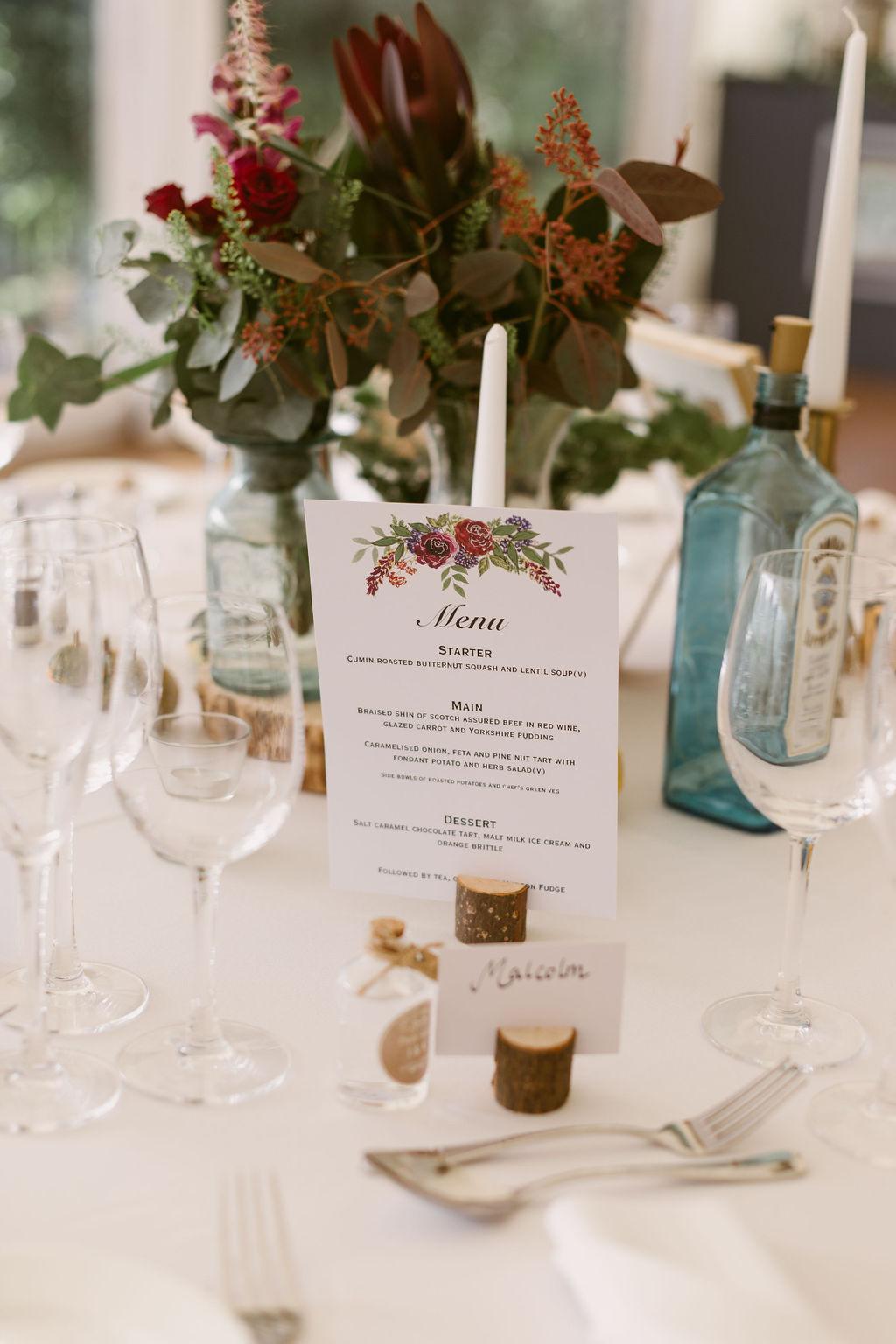 Simple floral wedding menu design inspiration