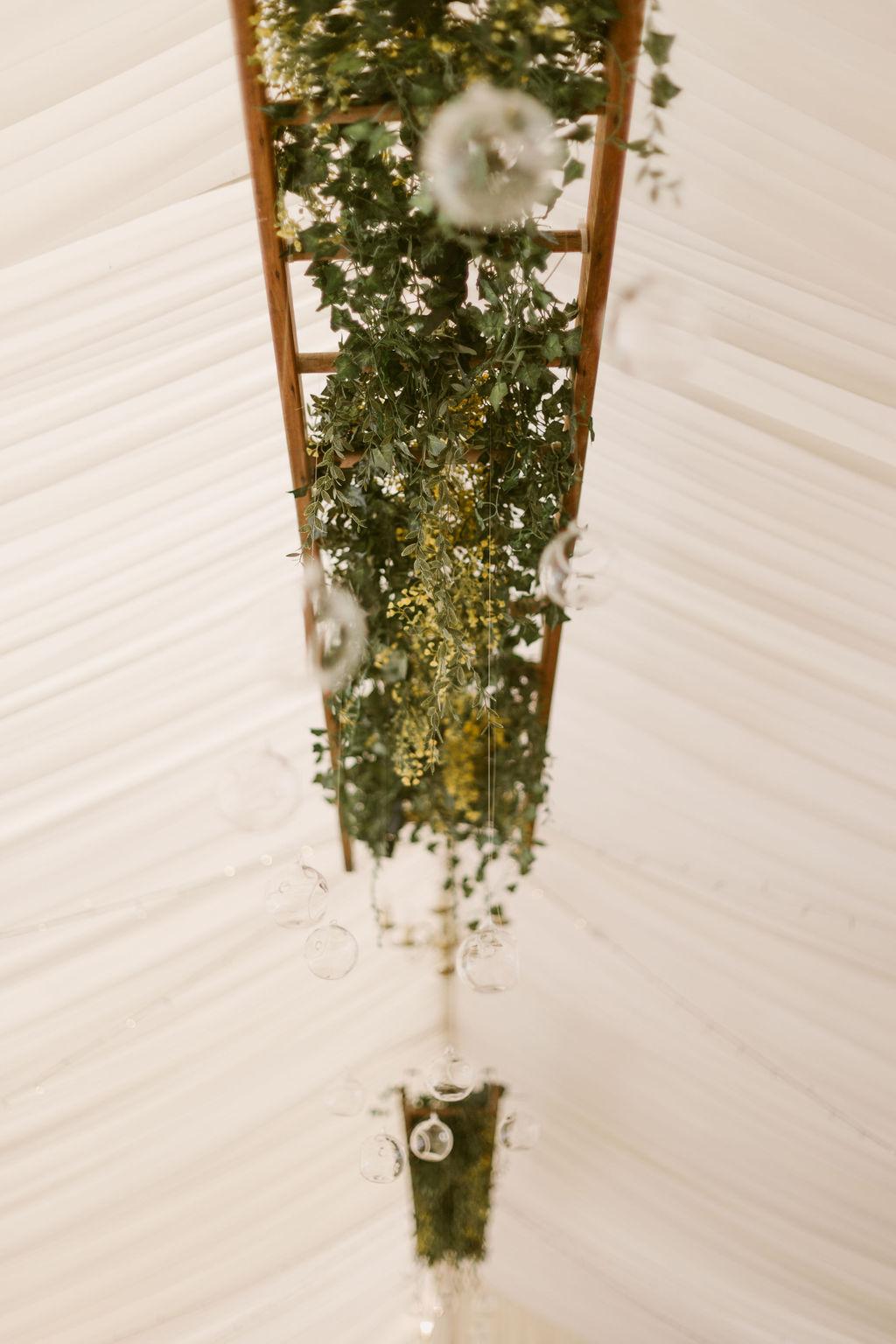 Wedding Ceiling ladder with fake foliage decoration inspiration | Elsick House Wedding